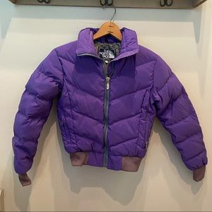 The North Face, purple puffy jacket